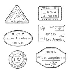 passport stamps arrival to los angeles usa vector image
