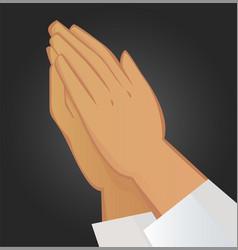 Praying hands on black background vector
