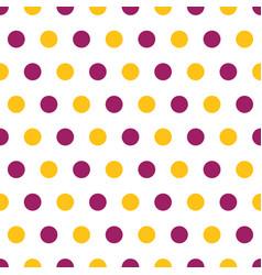 purple and yellow polka dots seamless pattern vector image