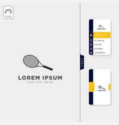 racket tennis logo template free business card vector image