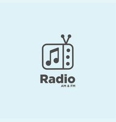 Radio music logo design template vector