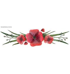 Red poppy gala vignette vector