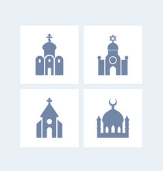 religion buildings icons isolated over white vector image
