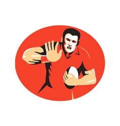 Rugby player fending ball retro vector