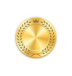 seal award gold icon blank medal with laurel vector image