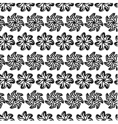 seamless pattern graphic black flowers on white vector image vector image