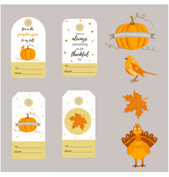 set holiday thanksgiving backgrounds badges vector image