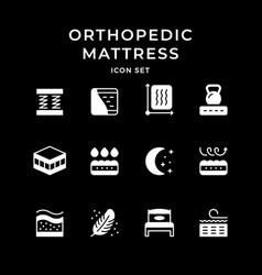 Set icons orthopedic mattress vector