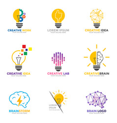 set light bulb logo energy and idea symbol vector image