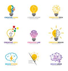 set light bulb logo energy and idea symbol vector image