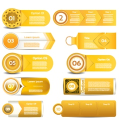 Set of orange progress version step icons eps 10 vector