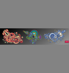 set of three paisley flower design isolated vector image