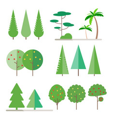 set trees in flat style vector image