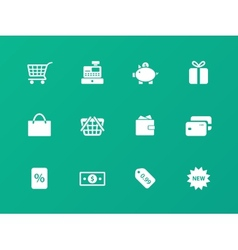Shopping icons on green background vector
