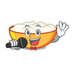 Singing cottage cheese mascot cartoon vector