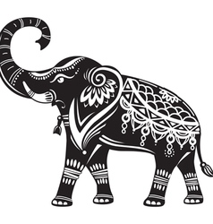 Stylized decorated elephant vector