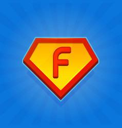 superhero logo icon with letter f on blue vector image