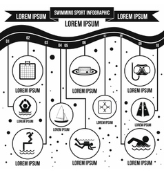 Swimming sport infographic elements simple style vector image