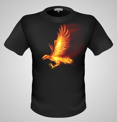 t shirts Black Fire Print man 08 vector image