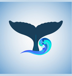 tail humpback whale logo vector image