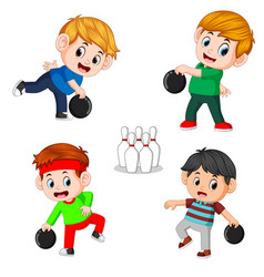 the various positions of the bowling player vector image