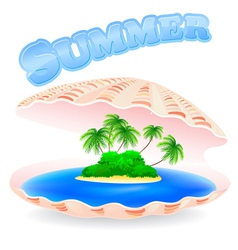 Tropical island shell vector