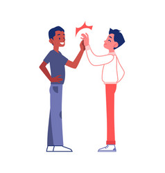 Two friends or business partners high five vector