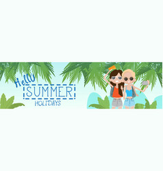 Two girls on summer beach vacation concept seaside vector