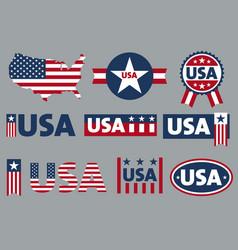 usa logo sticker label for patriot american flag vector image