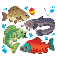 various freshwater fishes 2 vector image