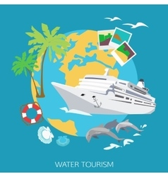 Water tourism background Flat style design vector image