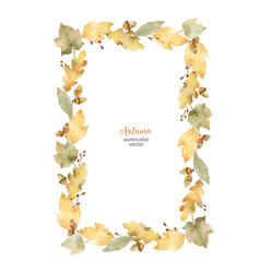 Watercolor rectangular frame leaves and vector