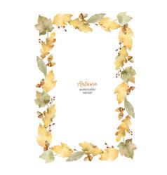 Watercolor rectangular frame of leaves vector