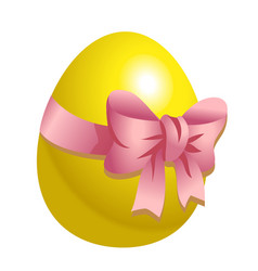 Yellow easter egg with isolated on vector