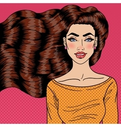 Young Woman with Health Long Hair Pop Art vector image
