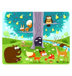 Animals and tree vector image