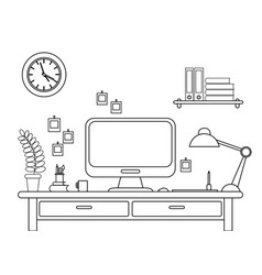 desk with a computer or vector image