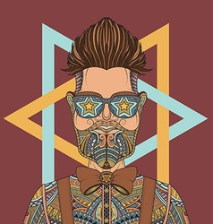 young hipster man wearing glasses tattoo vector image