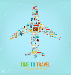 airplane silhouette with travel flat icons travel vector image vector image