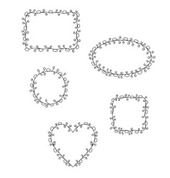 doodle hand drawn frames vector image
