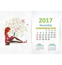 nice young woman is reading a book fun Calendar vector image vector image