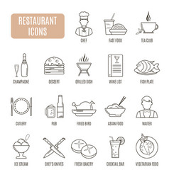 restaurant icons set of pictogram vector image vector image