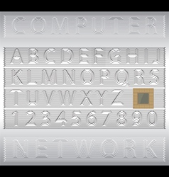 Techno alphabet letters and numbers vector image