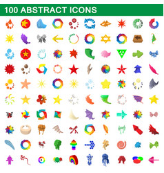 100 abstract icons set cartoon style vector image vector image