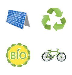 bio label eco bike solar panel recycling sign vector image