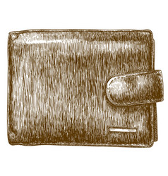 engraving of wallet vector image vector image