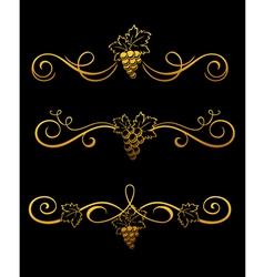 golden grape borders vector image vector image