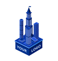 isometric modern skyscraper with your logo vector image