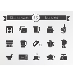 Kitchenware silhouette icons set vector image