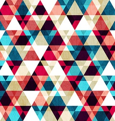 retro triangle seamless texture with wood effect vector image
